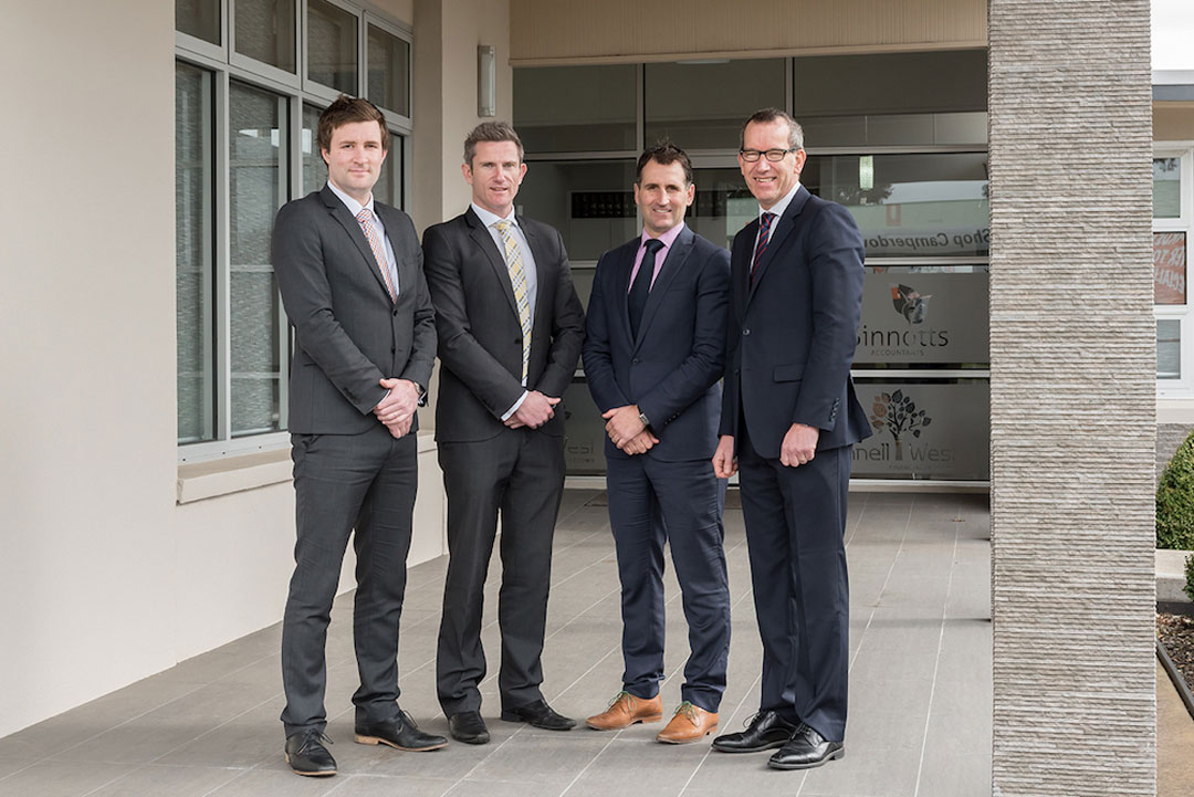 (l-r) Fennell West directors Ryan Fennell and Shane West with Sinnotts Accountants directors Aaron Sinnott and Murray Whiting.